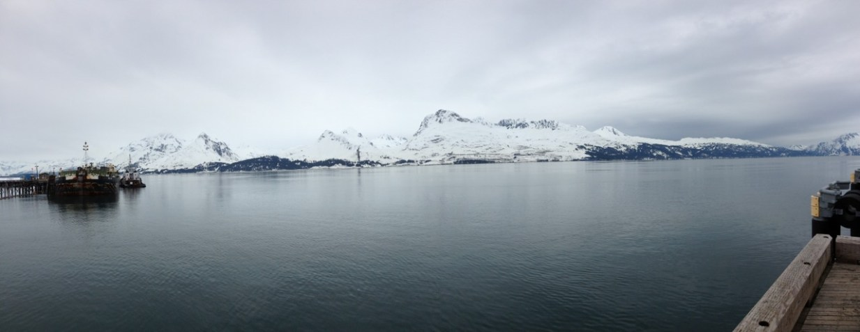 Looking at the Chugach Mountains from a dock in Valdez