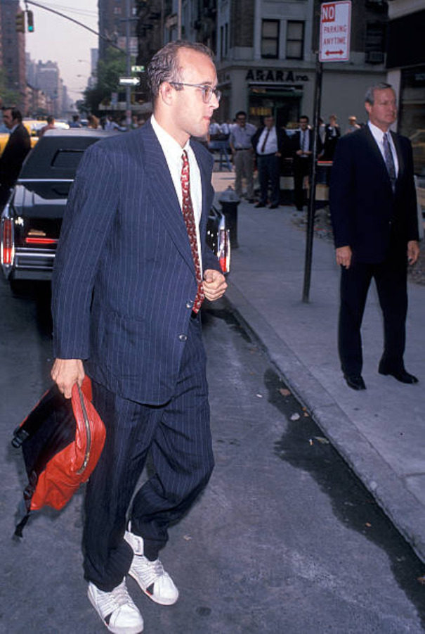Keith Haring attends Steve Rubell's Funeral Service on July 27, 1989 at  Riverside Memorial Chapel in New York City.