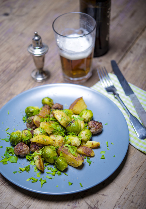 one pot brussels sprouts with potatoes and sausage meatballs