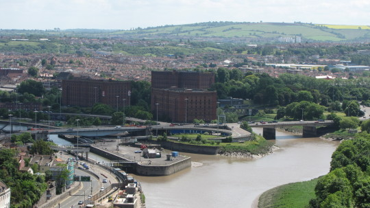 Avon River and city of Bristol, UK