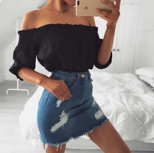 $13.95 Black off shoulder blouse. Get it »here« !