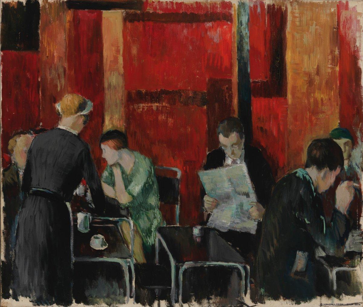 "huariqueje: "" Bazer Bar - Ericsson Henry, 1931 Finnish, 1898-1933 Oil on canvas, 55 x 65 cm. """