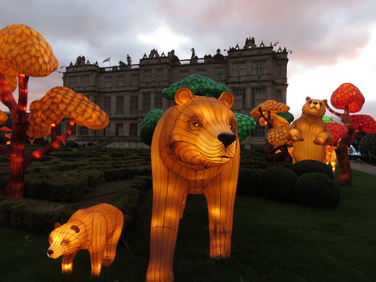 Chinese lanterns in the shape of the Three Bears with Longleat house in the background