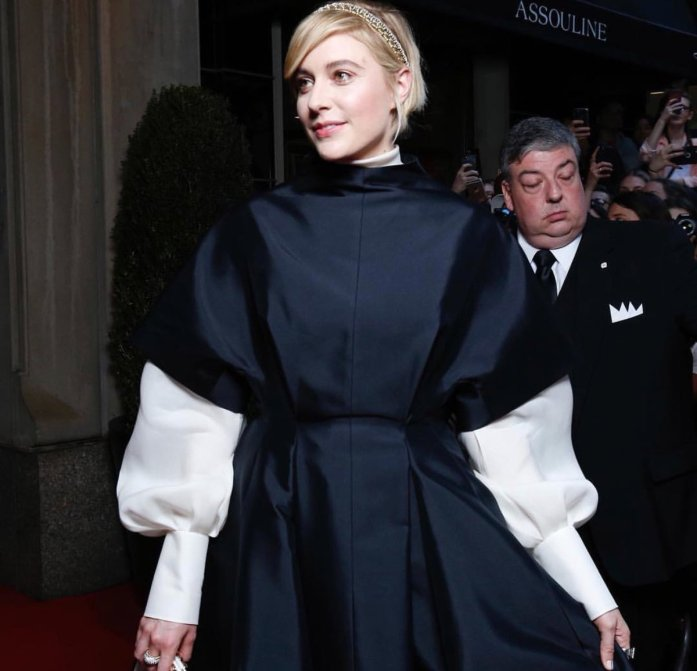 Greta Gerwig attends the 'Heavenly Bodies: Fashion & The Catholic Imagination' Costume Institute Gala at The Metropolitan Museum of Art in New York City (May 7, 2018).