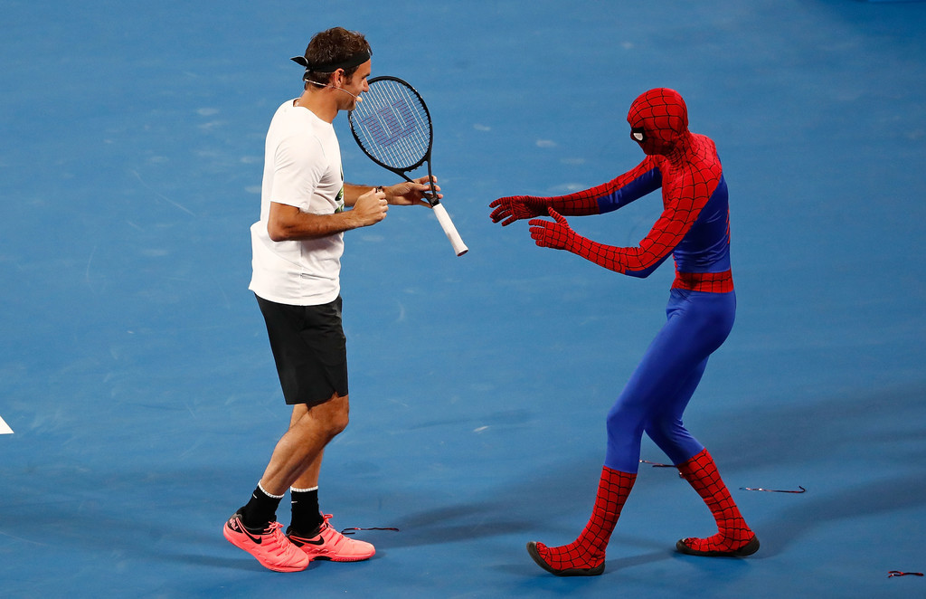 Roger Federer with Caroline Wozniacki, Novak Djokovic and Milos Raonic at  Kids Tennis Day – Australian Open 2018.