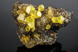 hematitehearts:  Sulfur Crystals on Sulfur MatrixSize: 7 x 4.5 x 3.5 inchesLocality: Agrigento Province, Sicily, Italy