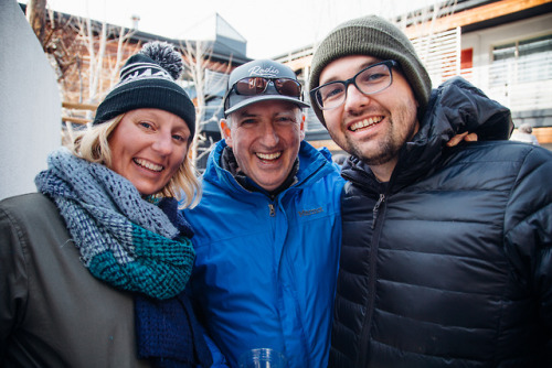 Colleen, Craig, and Taylor, Radio Boise fans at Camp Modern, warming up by the fire places on the patio. AS