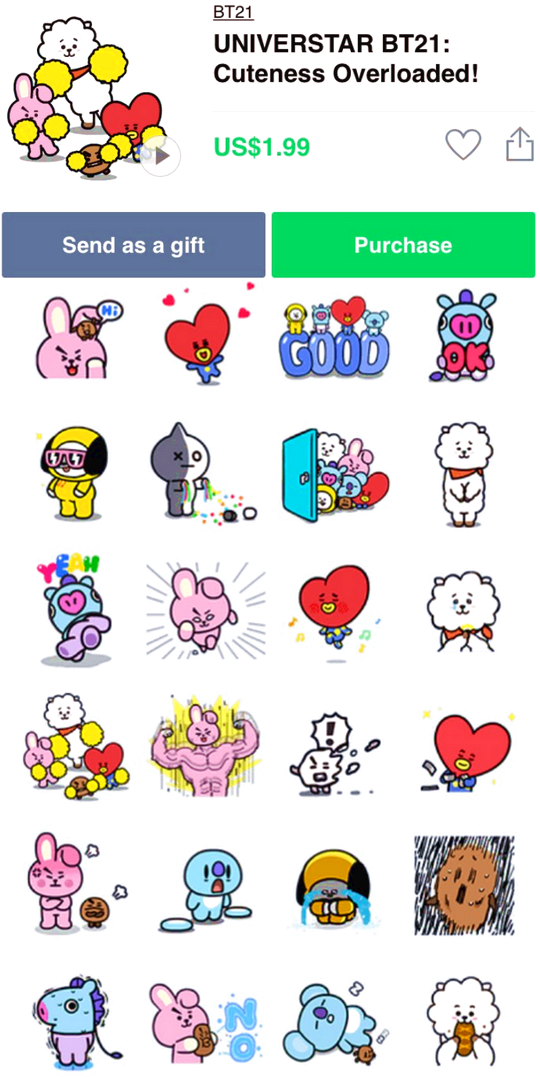 Bt21 line stickers can be purchased now for us1 99