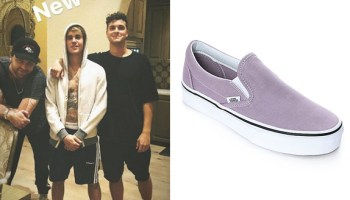 bieber fashion: Vans Primary Check Slip On in Racing Red