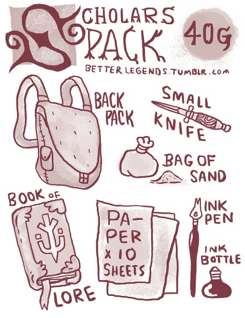 Image result for Scholar's Pack 5e