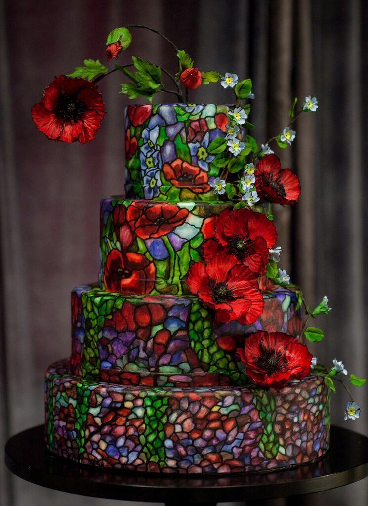 Stained Glass Wedding Cake with Sugar Flowers I Mischief Maker Cakes #mischiefmakercakes #themischiefmaker #bemischievious