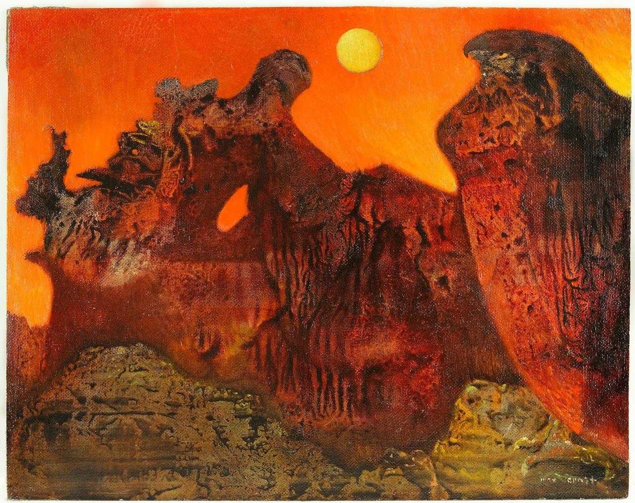 "thunderstruck9: ""Max Ernst (German, 1891-1976), Ohne titel (Sedona Landschaft) [Untitled (Sedona Landscape)], c.1957. Oil on masonite, 47.1 x 59.5 cm. """