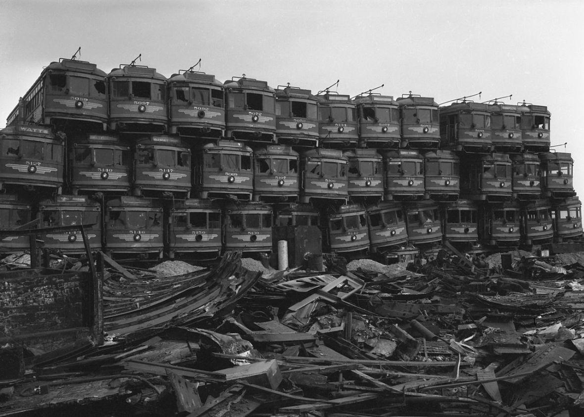 Pacific Electric Railway cars - Terminal Island, California U.S.A. - 1956