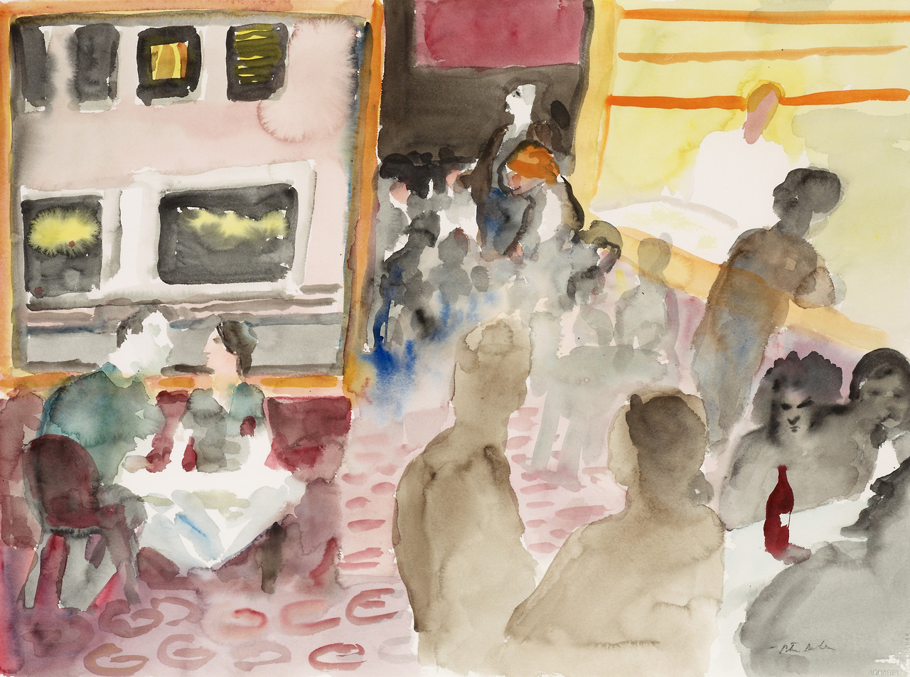 "huariqueje: "" In the Restaurant - PeterDahl Swedish,b.1934- Watercolour, 56 x 75 cm. (22 x 29.5 in.) """