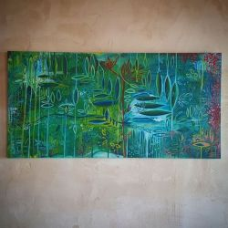 Sea garden paradise, ready for pick up! #commission #abstractart #art #painting #seagarden #green #newart #perthartist