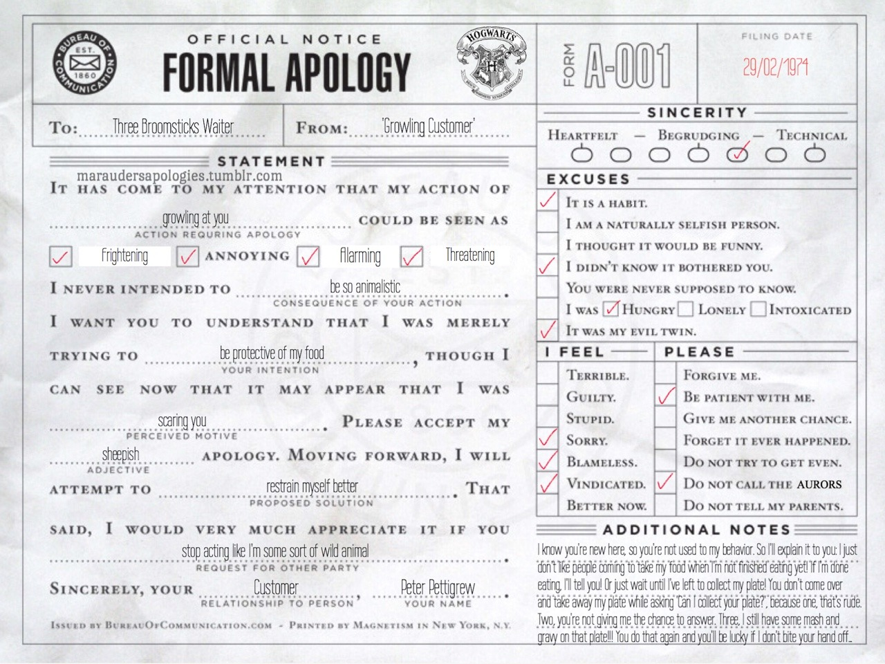 Marauders Apologies