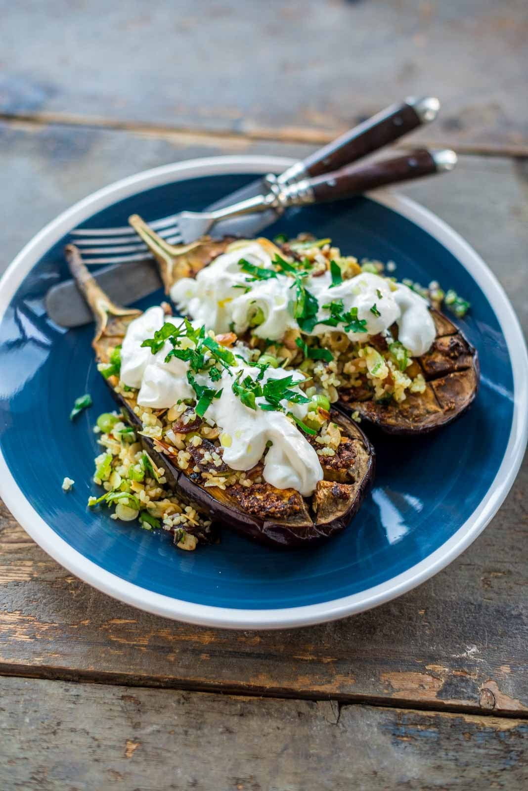 aubergines with chermoula, bulgur and yogurt. Another recipe from #Ottolenghi from his cookbook Jerusalem