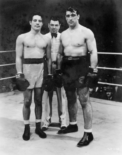 Three boxing champions, Max Baer, Jack Dempsey, and Primo Carnera on the set of The Prizefighter and the Lady
