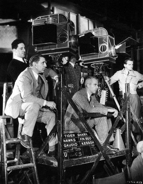 Howard Hawks on the set of Tiger Shark