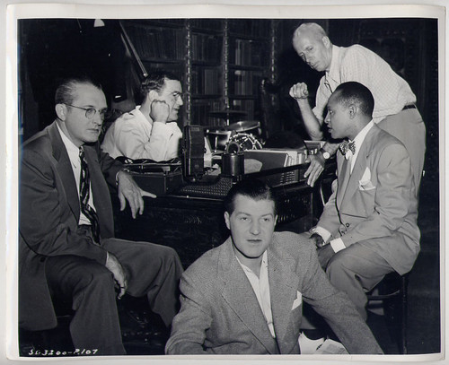 Howard Hawks on the set of A Song is Born with Tommy Dorsey, Charlie Barnet and Mel Powell