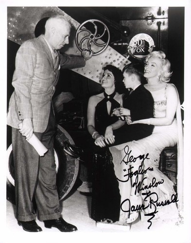 Howard Hawks on the set of Gentlemen Prefer Blondes with Jane Russell, George Winslow, and Marilyn Monroe