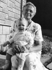 Mary Actymichuk with a granddaughter in Yorkton, Saskatchewan