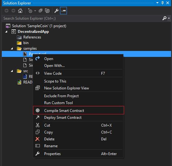 Create Smart Contract Visual Studio
