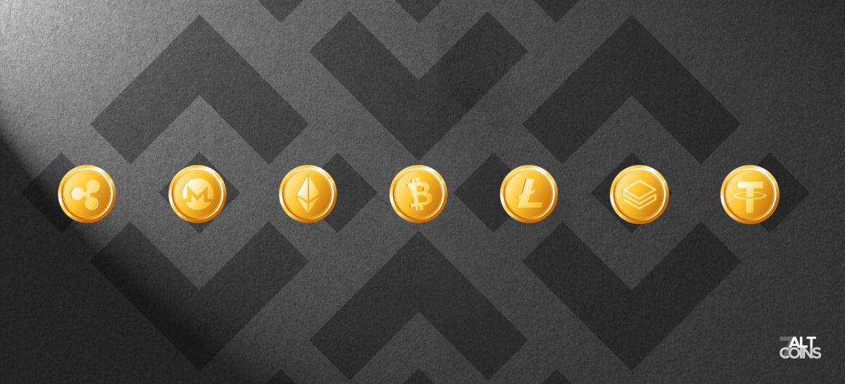 Logos of the coins listed on Binance