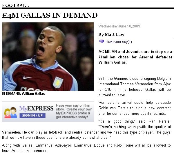William Gallas is now truly a #10