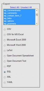 Exporting Tables in phpMyAdmin