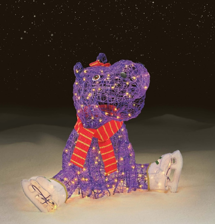 150 Light Hippo With Ice Skates Christmas Decoration