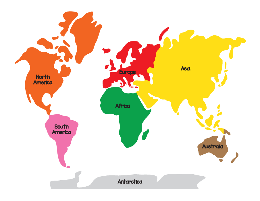 7 Continents of the World and 5 Oceans List