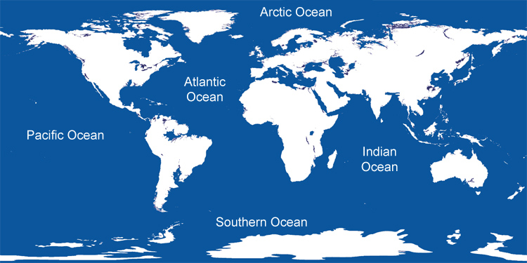 Oceans of The World and Information Map