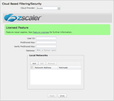 Cradlepoint Network Settings: Content Filtering