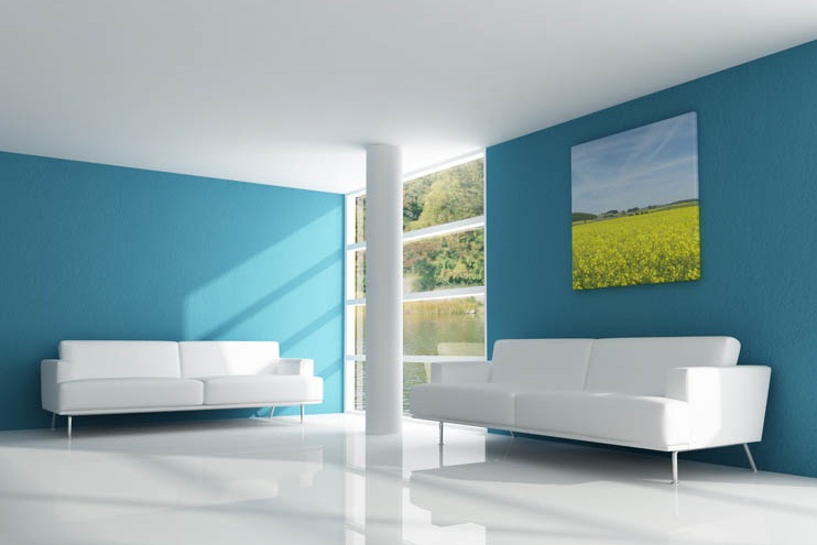 Best Minimalist Modern House Paint Colors   4 Home Ideas Blue And White Modern House Interior