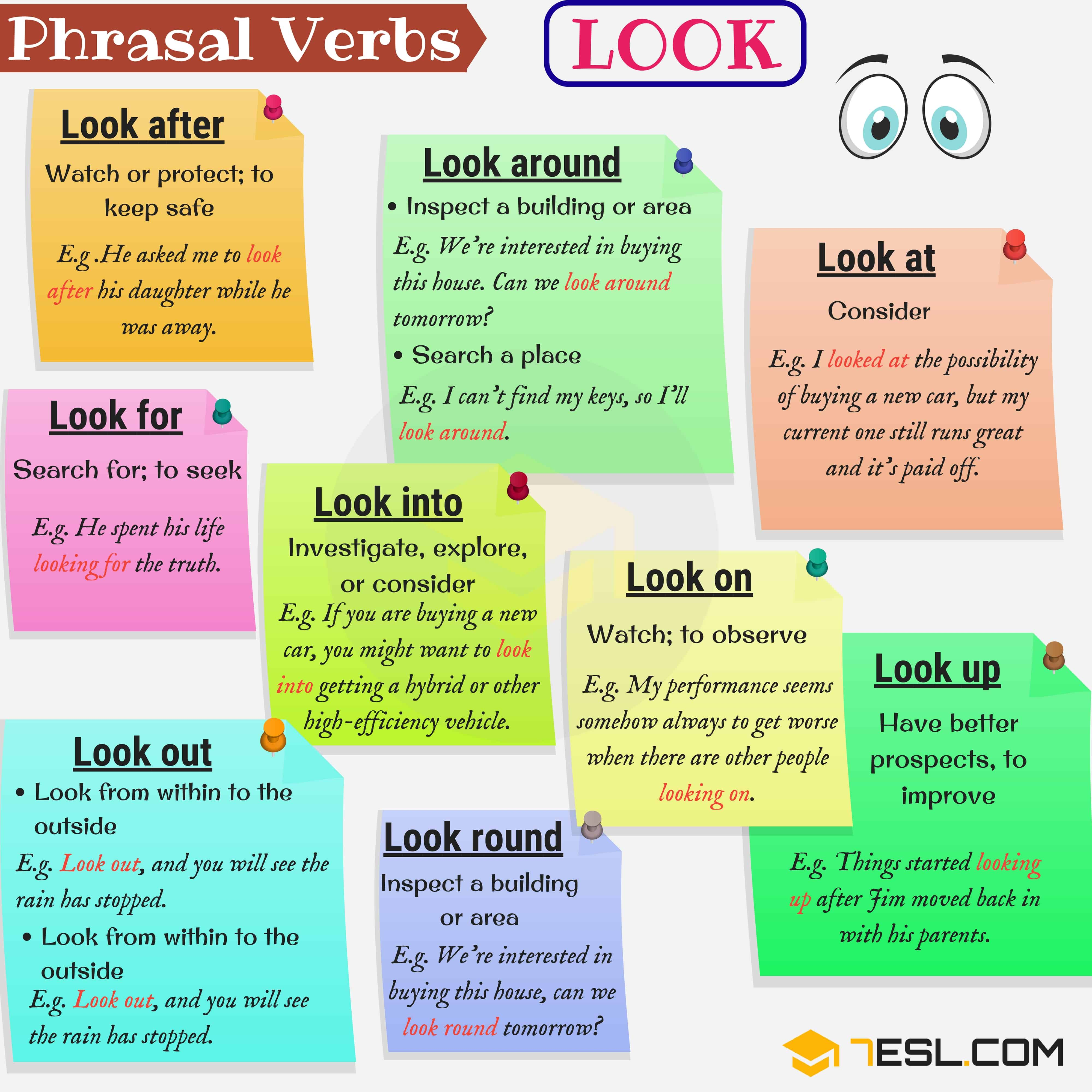 30 Phrasal Verbs With Look Look After Look Up Look