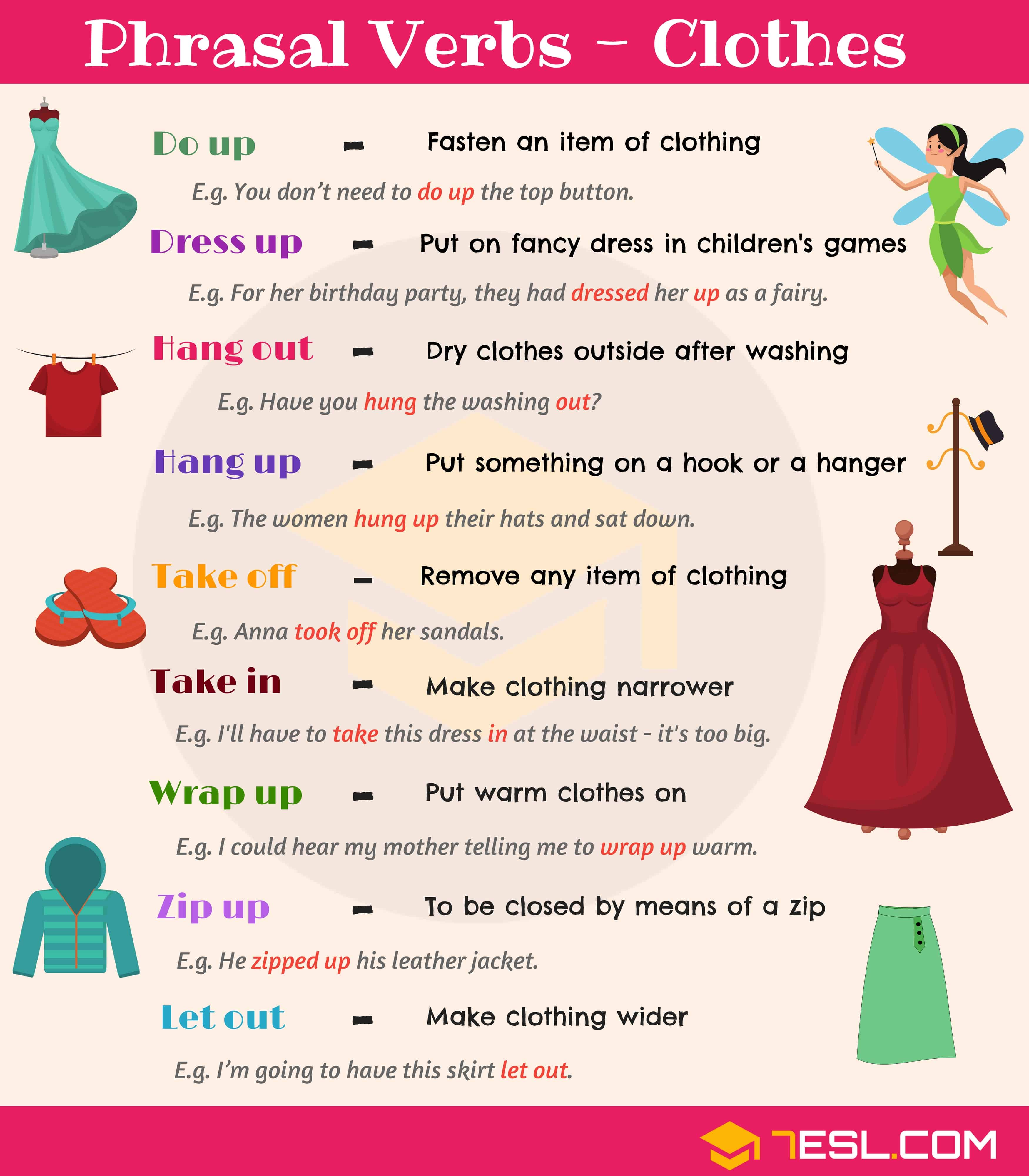 20 Useful Clothing Phrasal Verbs In English