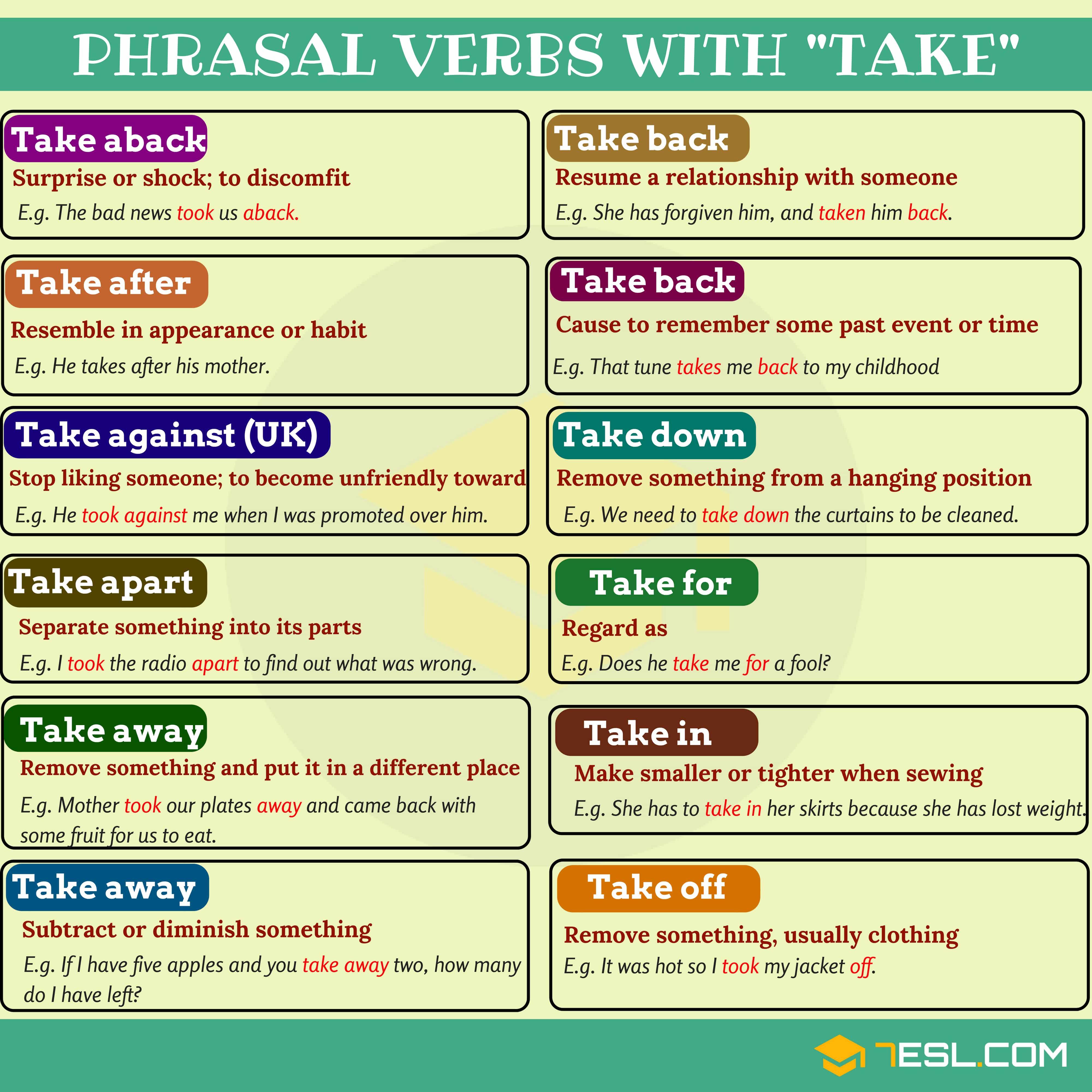 60 Phrasal Verbs With Take Take Away Take Back Take
