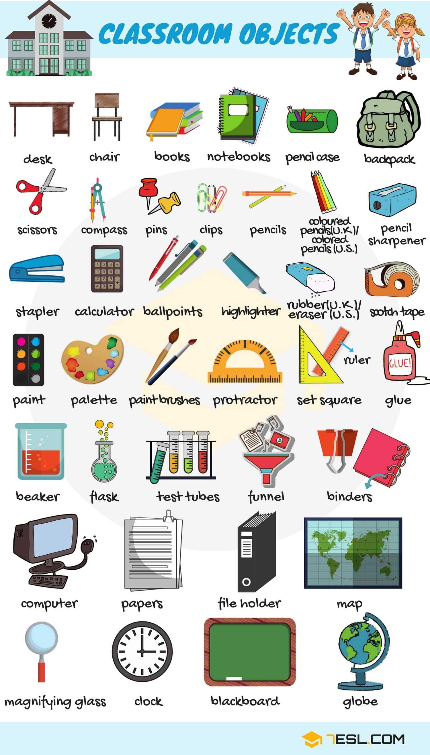 School Supplies Vocabulary Worksheet