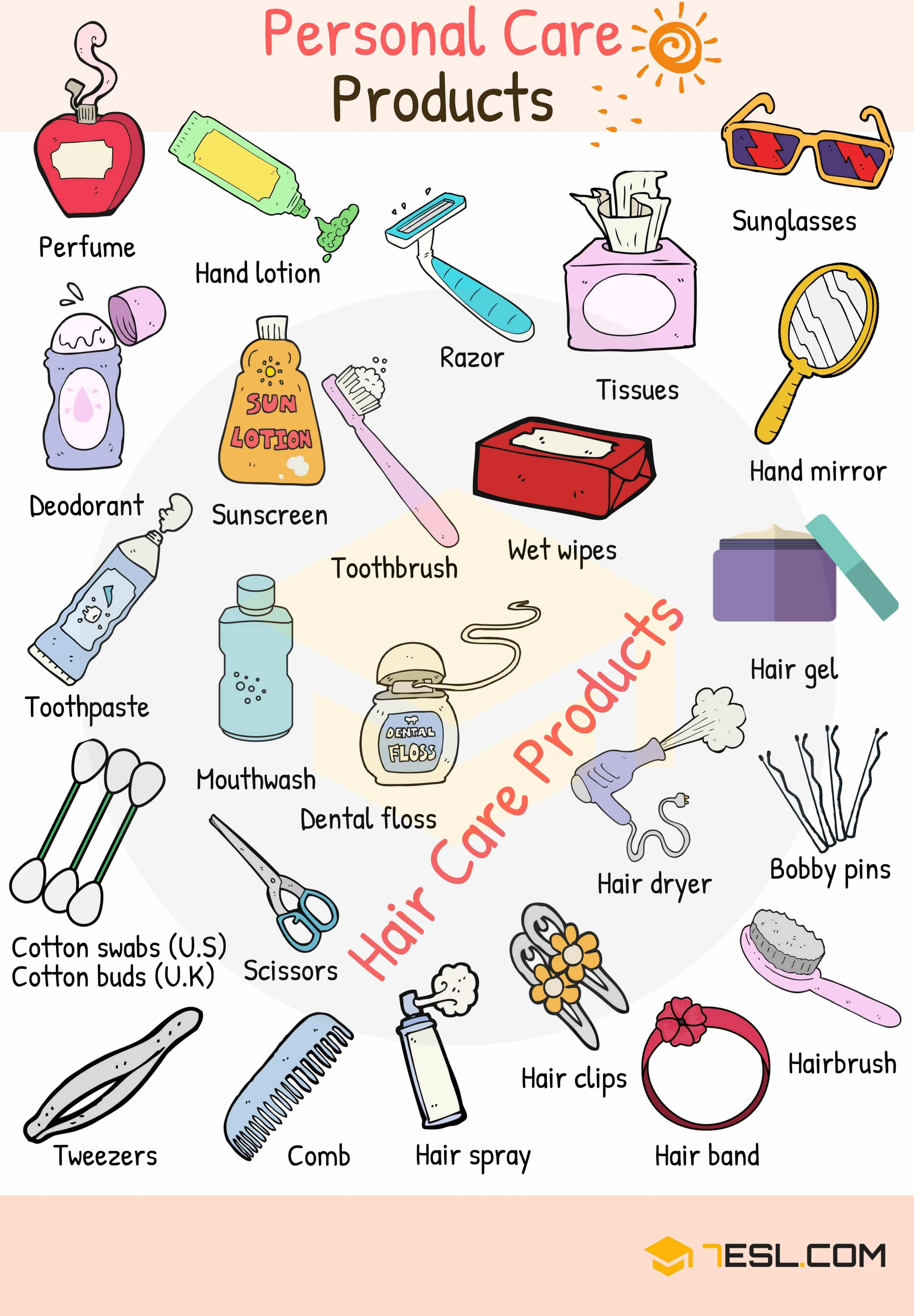 Personal Care Products Vocabulary Words List In English