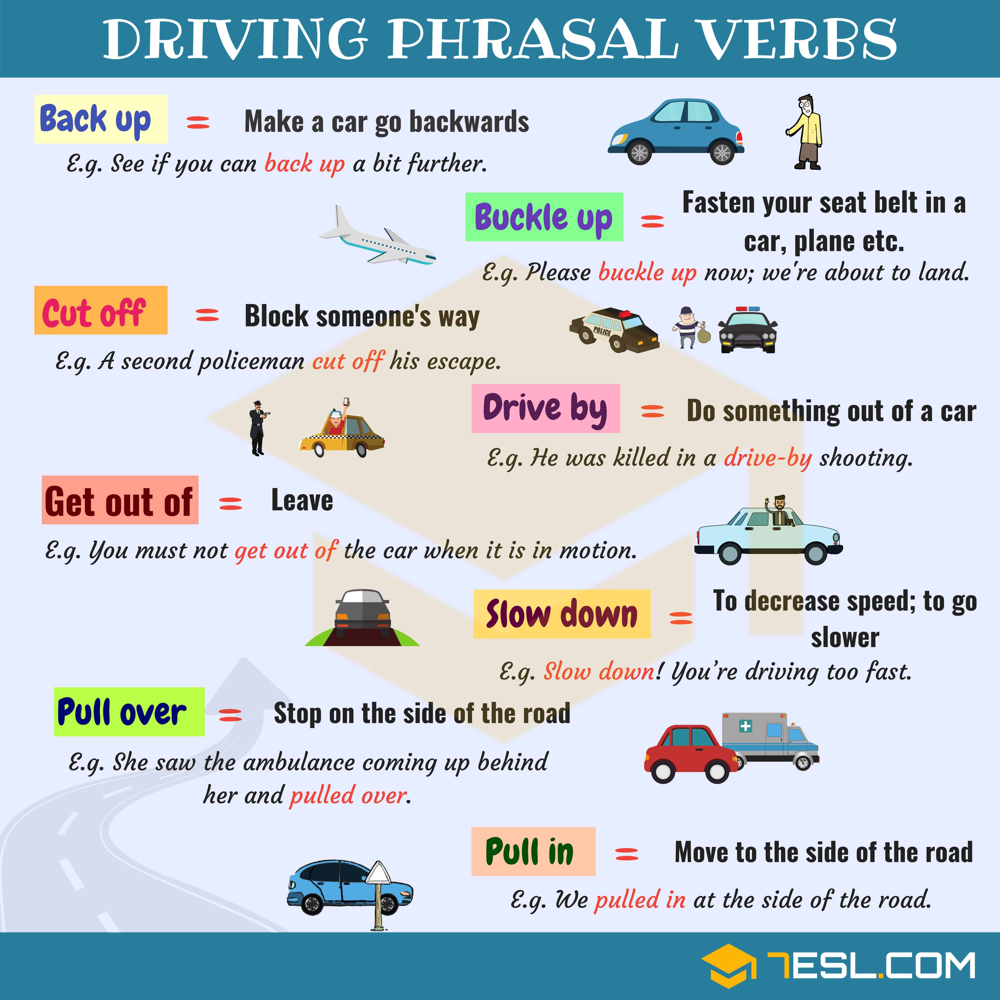 Driving Vocabulary 15 Common Driving Phrasal Verbs In