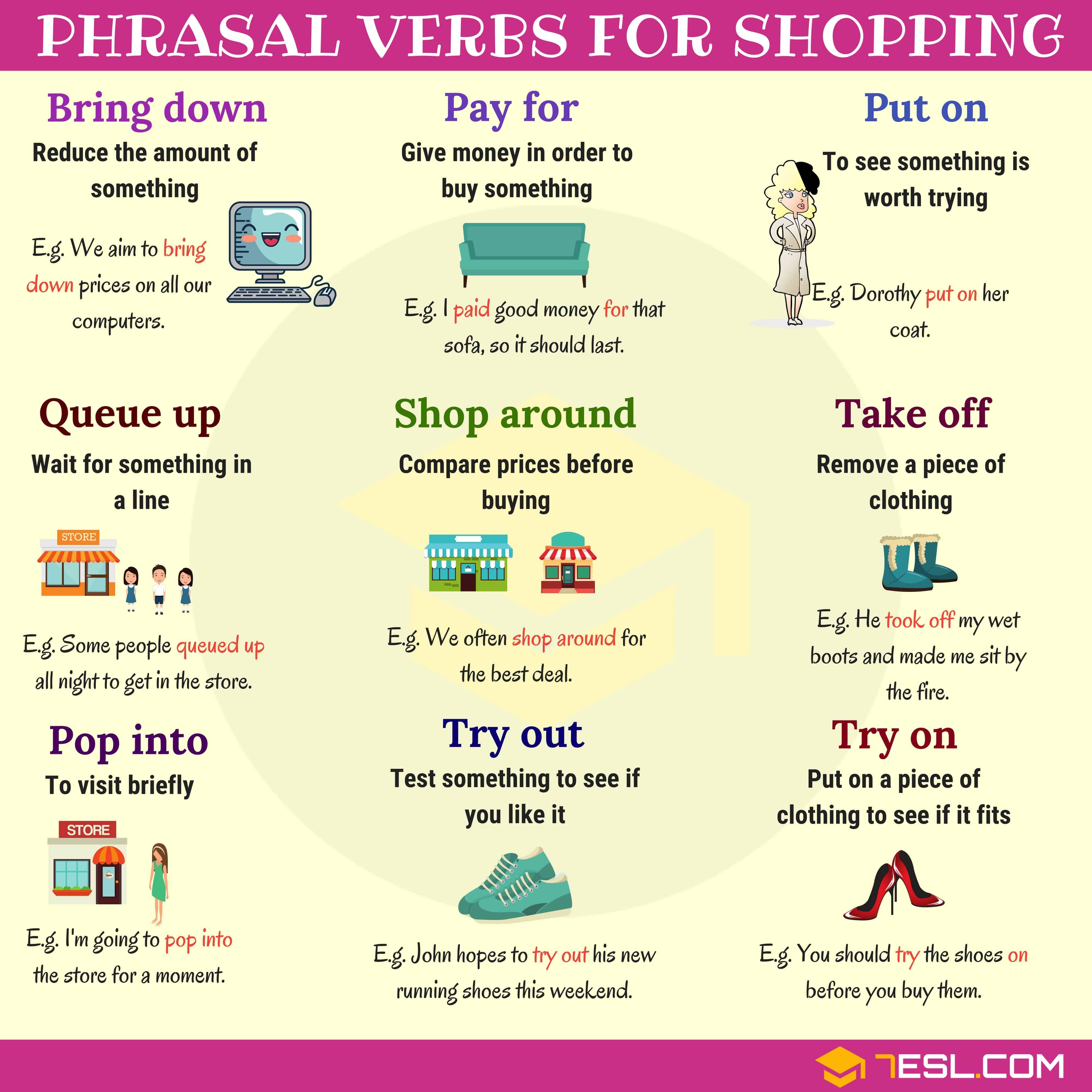 Useful Phrasal Verbs For Shopping In English