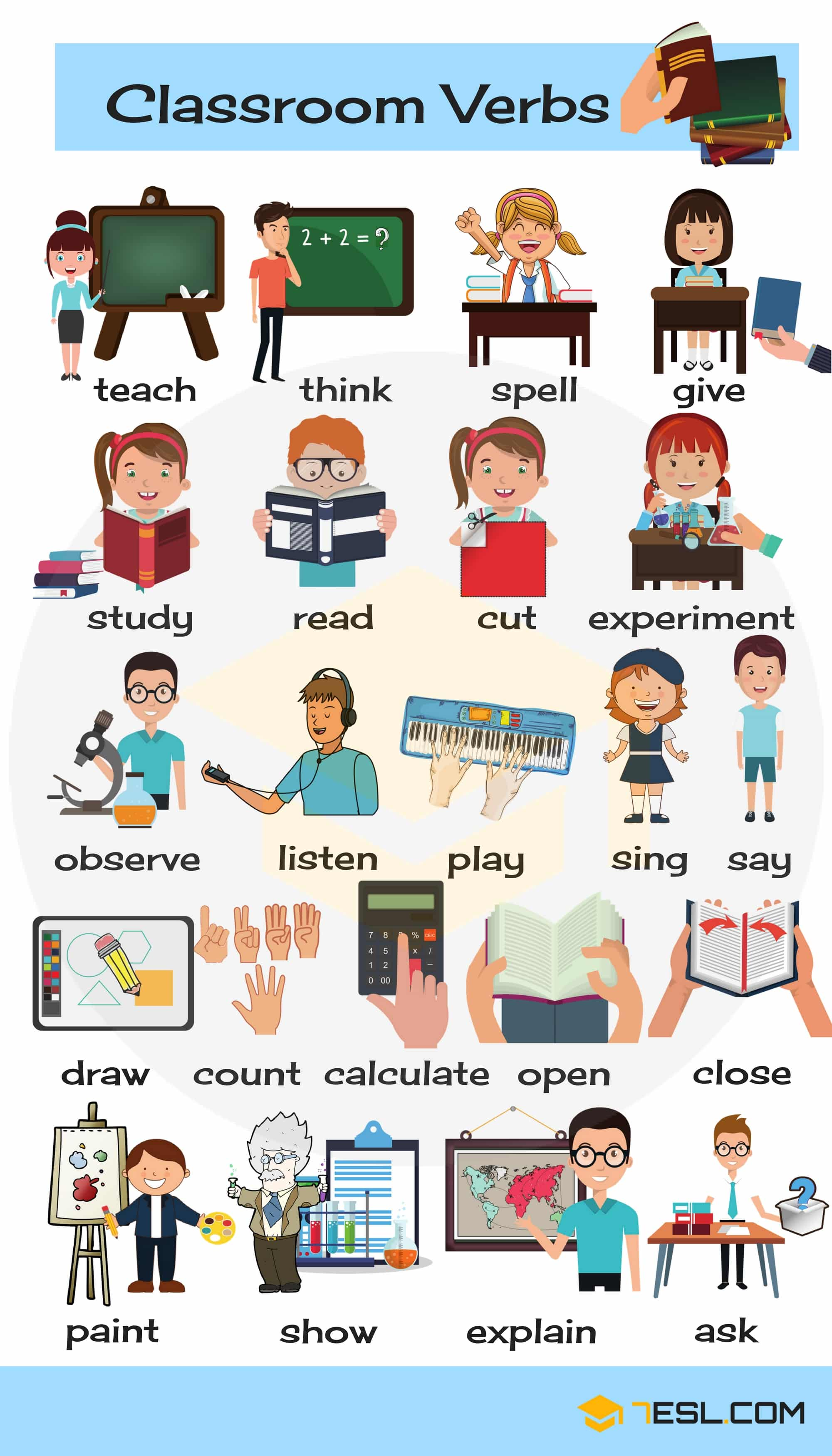 Classroom Verbs List Of School Verbs With Pictures