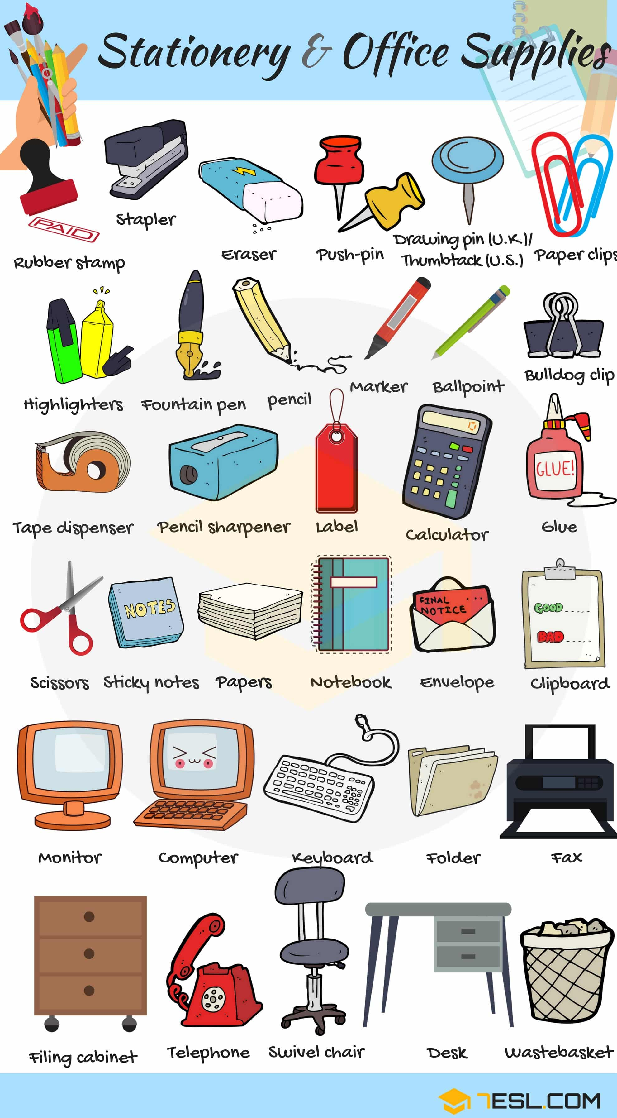 Office Supplies List Of Stationery Items With Pictures