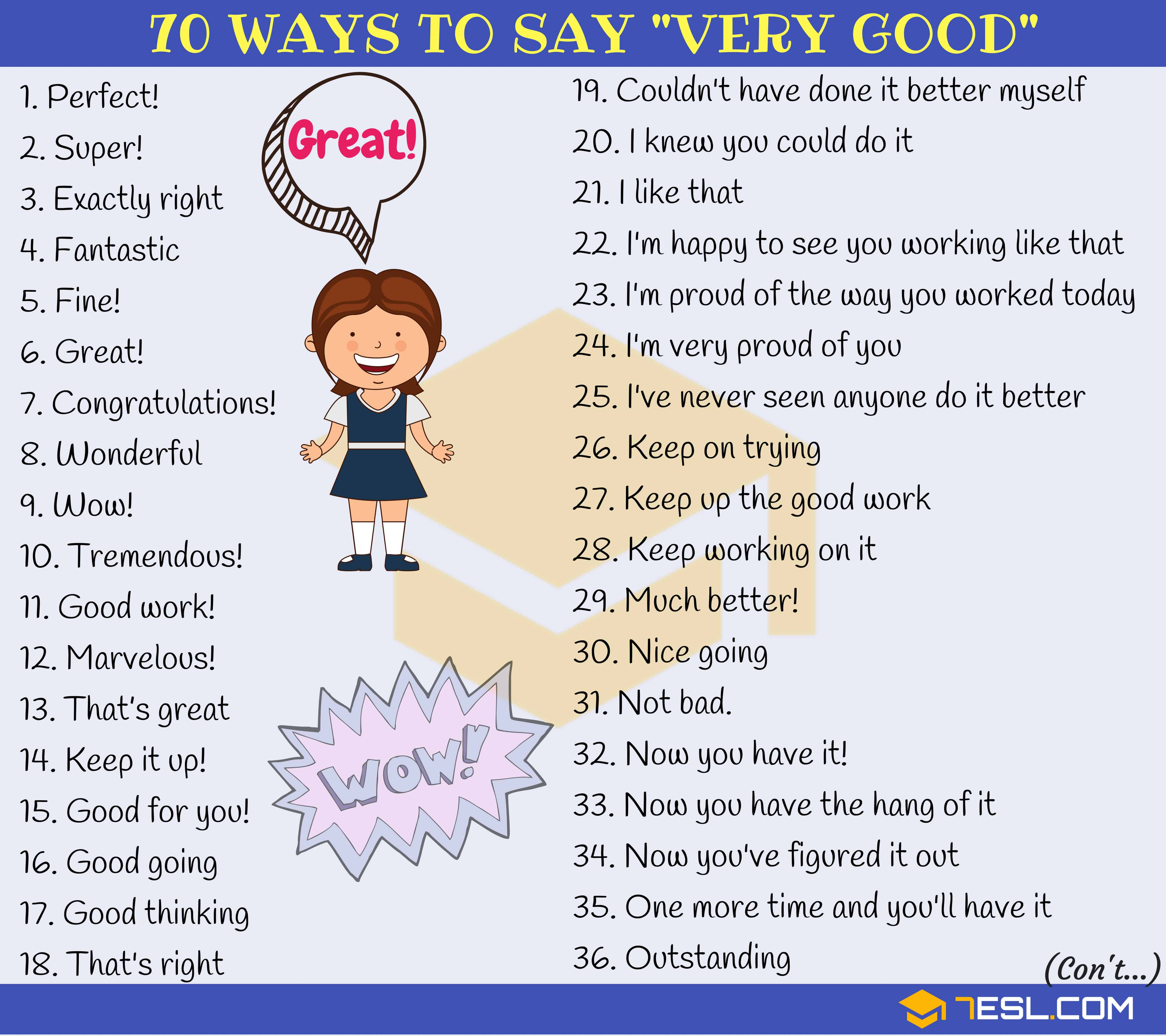 Very Good Synonym 70 Ways To Say Very Good In English