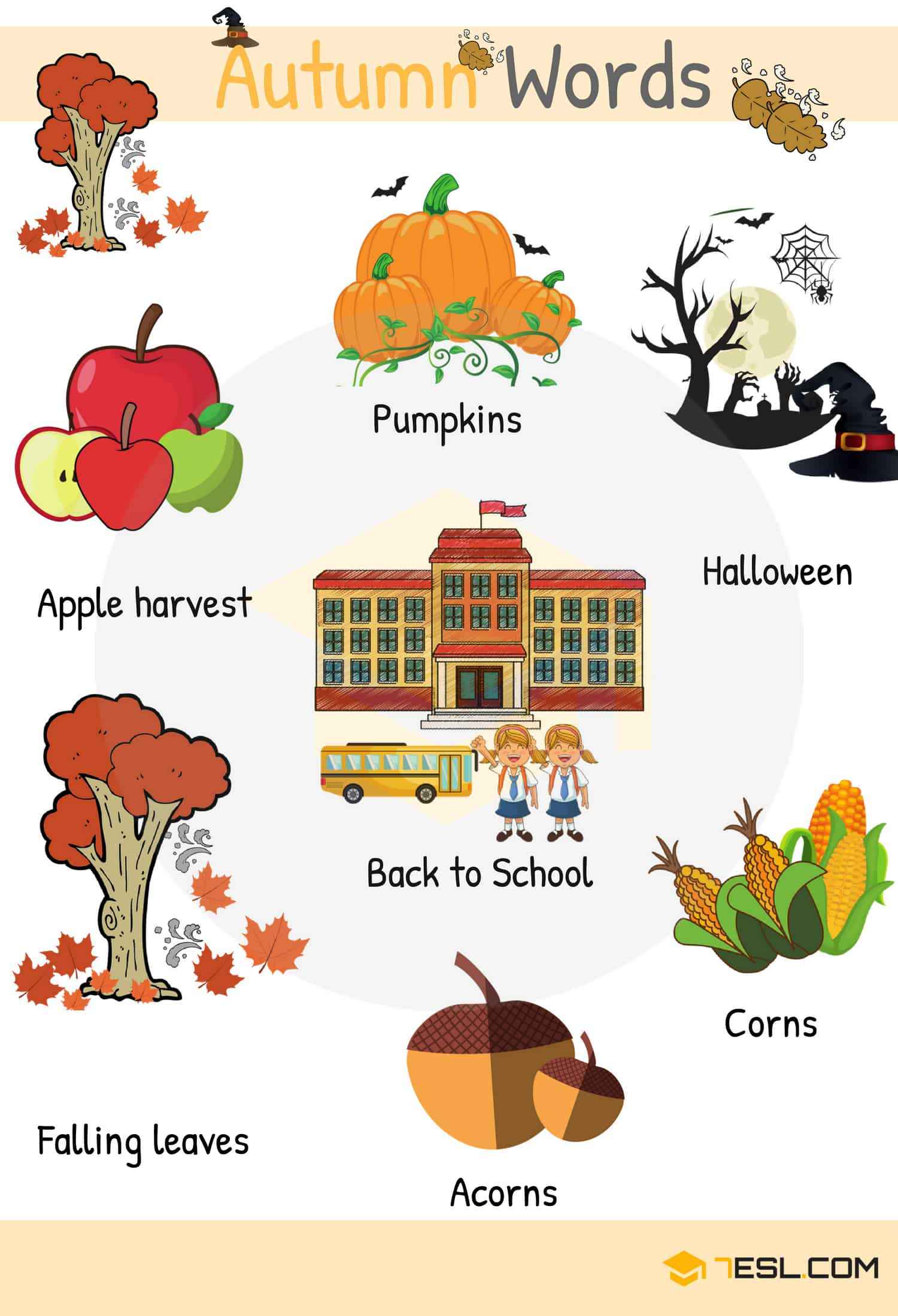 Autumn Words Useful Autumn Vocabulary With Pictures