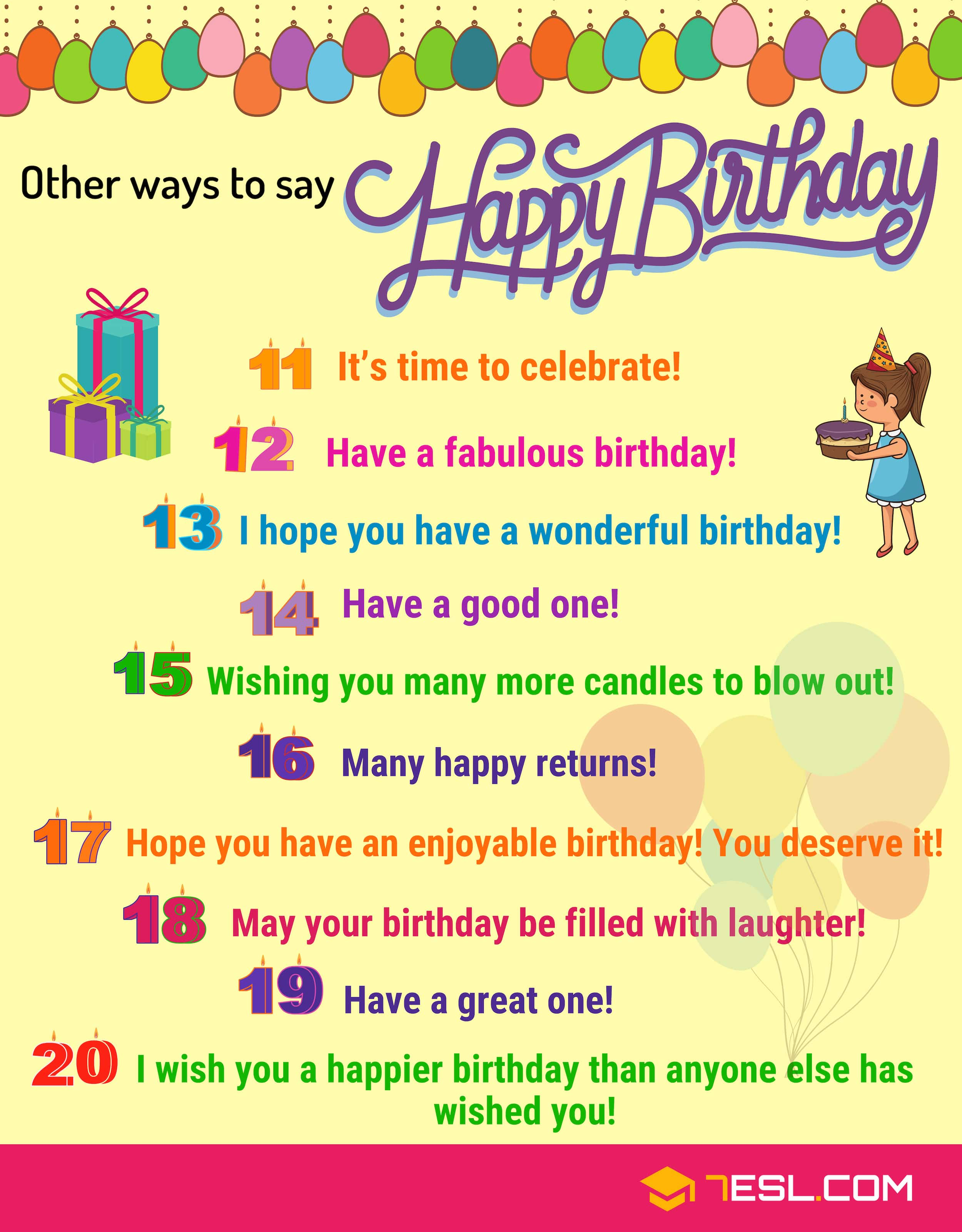 35 Cute And Funny Ways To Say Happy Birthday In English 7esl