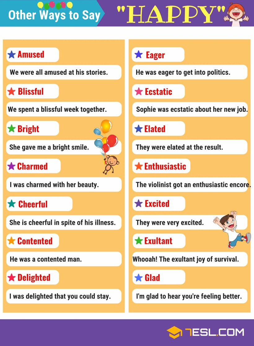 Synonyms For Happy This Page Provides An Useful List Of In
