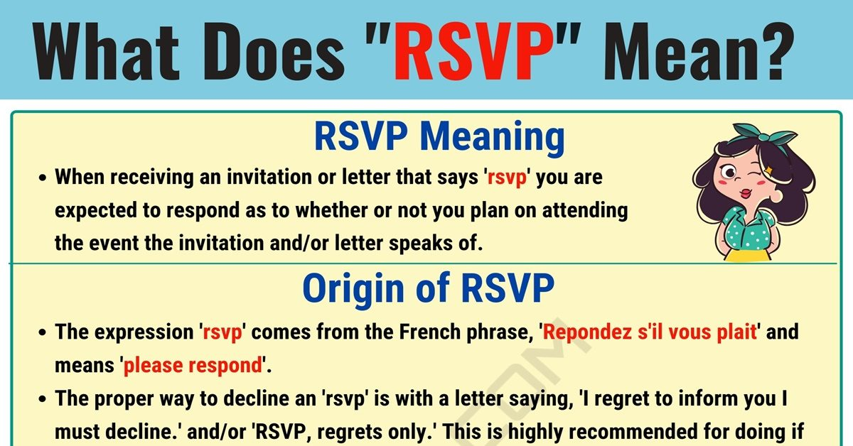 Rsvp Meaning What Does Rsvp Mean And Stand For 7 E S L