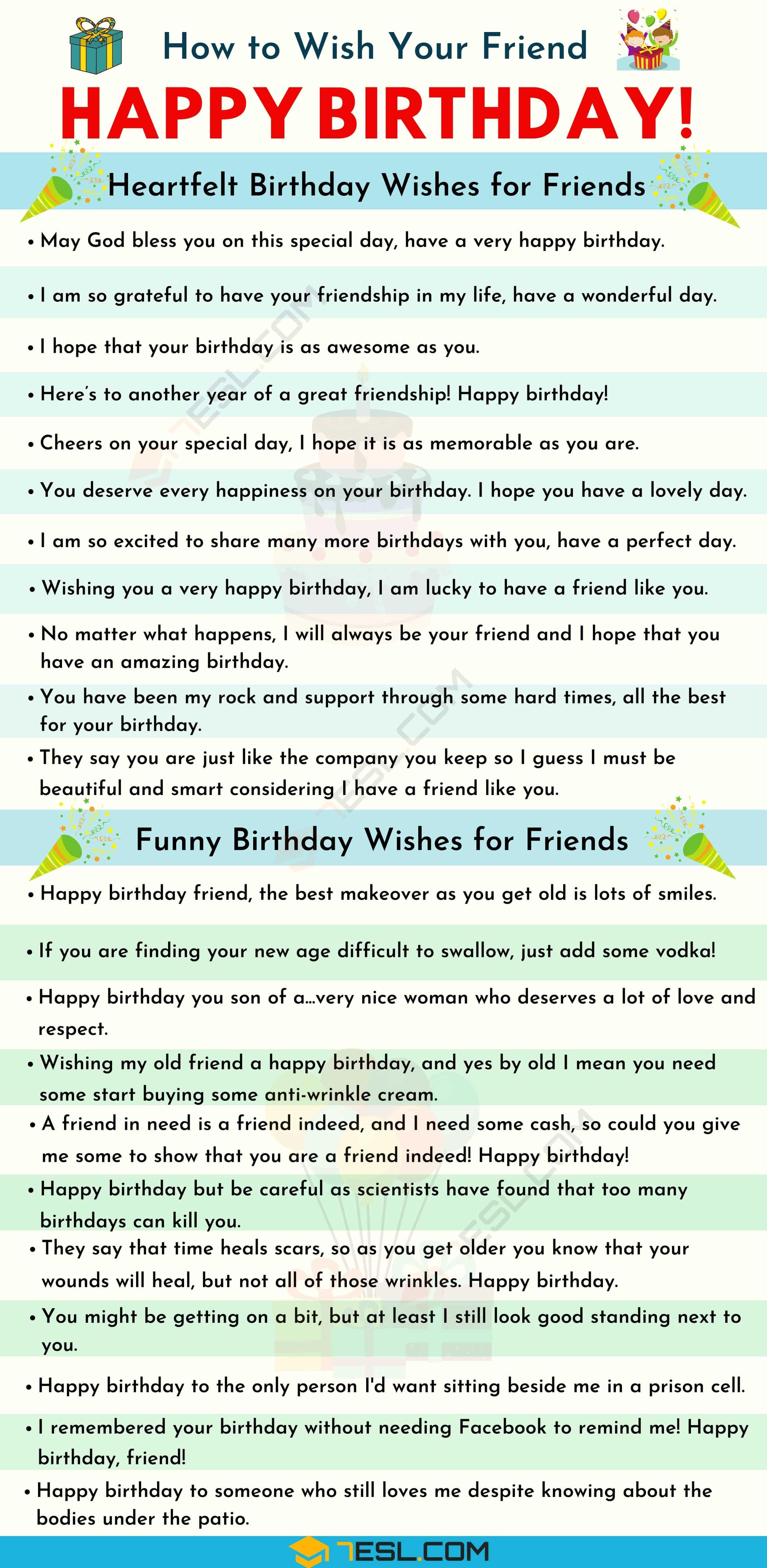 Happy Birthday Friend 35 Heartfelt And Funny Birthday Wishes For Friends 7esl